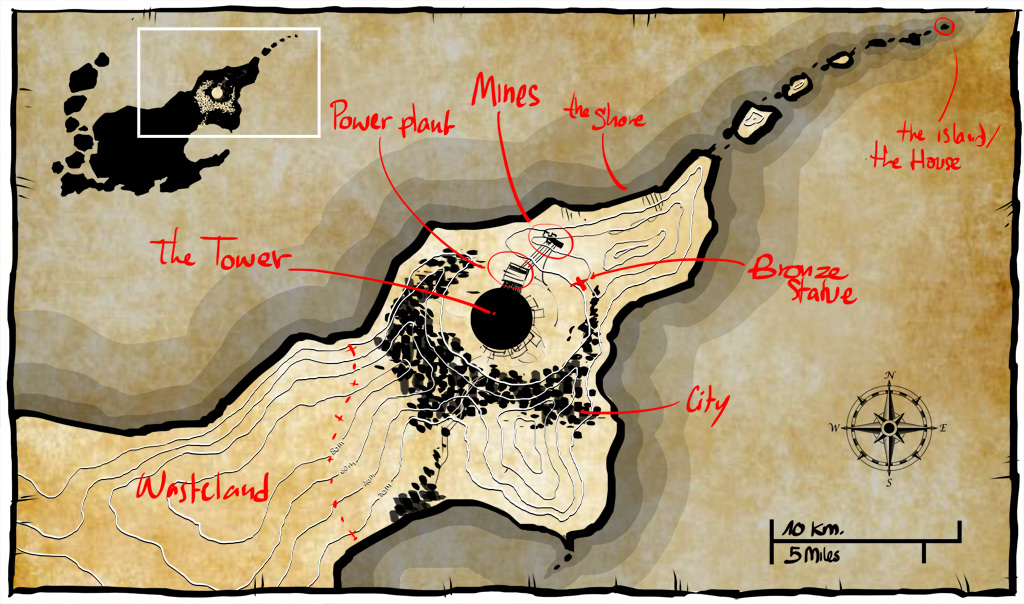 Ascent from Akeron worldbuilding: map